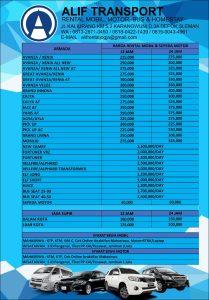 daftar harga alif transport